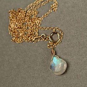 14k gold moonstone necklace